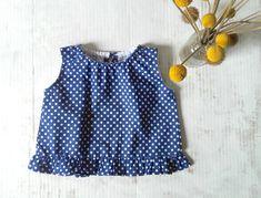 Blue white polka dots blouse kid