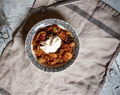 Linssi-lehtikaali-chorizopata Oatmeal, Breakfast, Food, The Oatmeal, Morning Coffee, Rolled Oats, Essen, Meals, Yemek