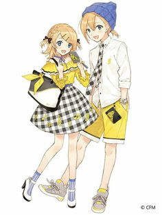 【COCOLLABO x KAGAMINE RIN/LEN】 Artist drew an illustration that shows Rin and Len with new items that will be sold due to their Anniversary! The bags look really cute! Len Y Rin, Vocaloid Len, Kagamine Rin And Len, Manga Girl, Anime Manga, Chibi, Rin Cosplay, Shoujo Ai, Mikuo
