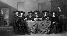 Regents of the Huiszitten House. From left to right: Ferdinand Bol, Aarnhout van der Cruijs, ANTHONY HOEVENAER, Jan van Beuningen, Isaac Commelin, Aarnout Schuyt, Symon Leeman (standing). Bol was one of the regents and lived on the Oudezijds Voorburgwal. For many years in the 19th century the painting was misattributed to him.
