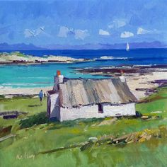 Coastal Paintings Archives - Page 2 of 2 - Robert Kelsey Irish Landscape, Landscape Art, Landscape Paintings, Ireland Landscape, Seaside Art, Coastal Art, Cottage Art, Irish Cottage, Ocean Artwork