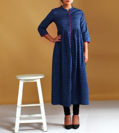 Indigo Cotton Printed Dress