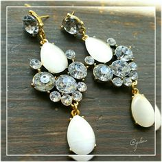 """Water drop chandelier pageant wedding style Elegant rhinestone drop earrings hanging approximately 3"""" in length and weighing approximately 27 grams these are very classy. Discounts given on bundles. boutique  Jewelry Earrings"""