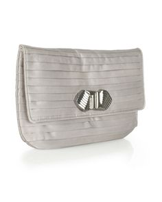 This gorgeous pleated silk clutch has a vintage inspired feature buckle and is a great choice for evening. The muted gray tones are perfect for the season and this clutch bag is the right size to hold all the essentials you need.