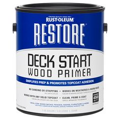 A groundbreaking clear primer that completely changes the preparation process for deck resurfacing. Restore Deck Start Wood Primer simplifies preparation by eliminating the need for stripping and sanding. Simply clean the surface and apply one coat of the primer. Then, the deck is ready to be coated with any solid color coating.