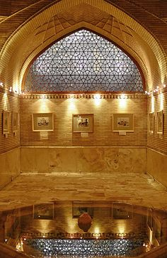Golestan Palace window and reflecting pool, Tehran, Iran