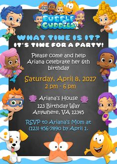 Chalkboard Bubble Guppies Birthday Party Invitation by ShayLanaeDesigns on Etsy