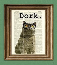 Decoration:The Dork Cat in black glasses illustration beautifully upcycled dictionary page book art print -- You can find more details by visiting the image link.