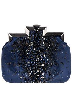 Rosamaria G Frangini   High Clutches   Giorgio Armani Embroidered Deep Blue Crystal Clutch