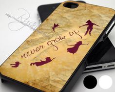 Peter Pan Never Grow Up - Print Hard Case - iPhone 4/4s Case - iPhone 5 Case - iPod 4 / 5 - Black - White (Option Please) on Etsy, $14.89