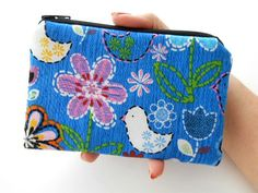 Stitch Birds and Blooms Coin Purse Little Padded Eco Friendly Zipper Pouch by JPATPURSES, $8.00
