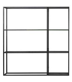 Regoli Kristalia Shelves System Regoli designed by Bluezone for Kristalia is a shelves system made of white, black or olive lacquered steel. Available in different models, with solid or grid shelves.