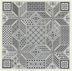 Blackwork pattern - 41 different filler stitches. Motifs Blackwork, Blackwork Cross Stitch, Blackwork Embroidery, Paper Embroidery, Cross Stitching, Cross Stitch Embroidery, Embroidery Patterns, Learn Embroidery, Cross Stitch Designs