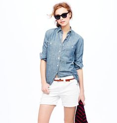 Chambray and white. Always effortless and cool. (Pic from J. Crew)