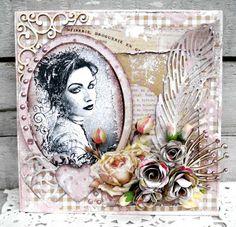 Jeg har lavet et kort med papir House of roses , stempel herfra , Chipboard fra Wycinanca , du kan se link til   Maribel   Delicate Feather...