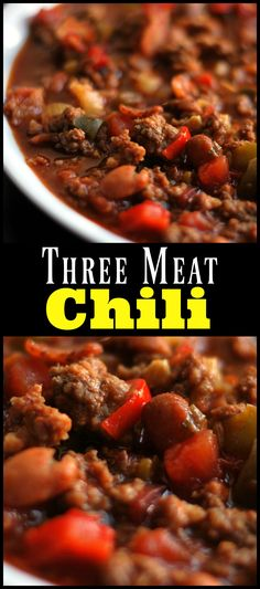 This is the best chili we have ever tried! Everyone always asks for the recipe! (Best Ever Chili) No Meat Chili Recipe, Chilli Recipes, Meat Recipes, Dinner Recipes, Cooking Recipes, Healthy Recipes, Crockpot Recipes, Dinner Ideas, Chili Con Carne