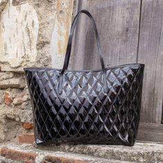 33a6c1972e6 Quilted Black Patent Leather Tote Bag - Via del Corso | NOVICA Black Patent  Leather,