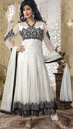 $244.2 White Net Thread Work Long Anarkali Style Salwar Suit 23012
