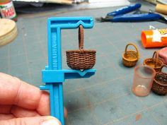 Dollhouse Miniature Furniture - Tutorials   1 inch minis: Weaving a Basket with Crochet Thread Tutorial - How to weave a basket using painted crochet thread and covered wire.