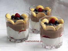 Smotanový duo pohár • Recept | svetvomne.sk Sweet Recipes, Tiramisu, Ham, Diy And Crafts, Cheesecake, Food And Drink, Pudding, Straws, Hams