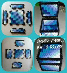 Sexy Felicia Perler Pattern by PerlerAngel on DeviantArt - Ombre Colored Minecraft inspired box by PerlerAngel - Easy Perler Bead Patterns, Melty Bead Patterns, Diy Perler Beads, Perler Bead Art, Beading Patterns, Hamma Beads 3d, Peler Beads, Fuse Beads, Minecraft Beads