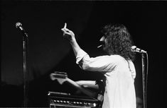 Circa 1968 — Frank Zappa giving someone the finger at a show — Image by Elliott Landy/Corbis.