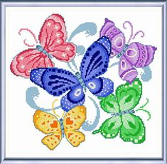 Spring Butterflies - cross stitch pattern designed by Ursula Michael. Category: Butterfly.