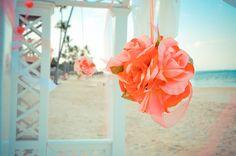 Beach wedding, coral, flowers, decor, tropical