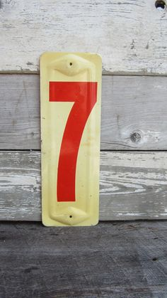 Vintage Metal Number Seven Price Sign Old Gas Station Number Red and Off White Panel Number 7 on Etsy, $21.00