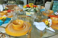 mesa posta flores laranja - Pesquisa Google