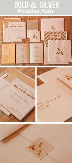 Gold and Silver Foil Wedding Invitations Embossed