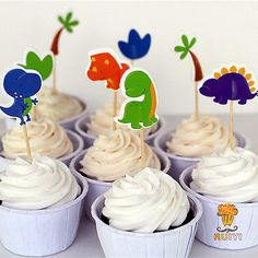 7 € 24pcs Dinosaur Party Cupcake Toppers Picks Kids Birthday Baby Shower Decors Gift
