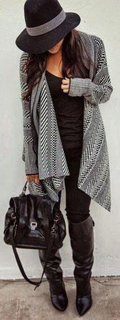 #fall #fashion / geometric print cardigan