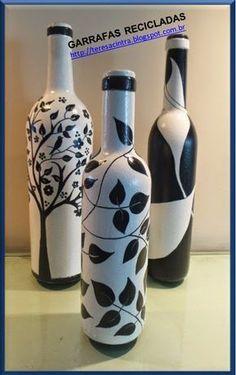 decoration reci - Quilling Deco Home Trends Painted Glass Bottles, Recycled Glass Bottles, Glass Bottle Crafts, Painted Wine Glasses, Decorated Bottles, Empty Wine Bottles, Wine Bottle Art, Diy Bottle, Bottle Vase