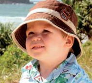 Boys Dozer Chocolate Bucket  A funky boys sun hat. Made from light weight ripstop cotton, it has a great bucket shape and great wide brim. It has an adjustable elasticised cord around the crown, ensuring a great fit. It is chocolate in colour with a khaki band & trim. It is easily folded to take anywhere.