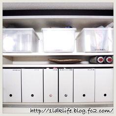 キッチンの吊り戸棚の中です。  以前は百均のファイルボックスを使ってましたが、このファイルボックスにしたら、子供が、穴に指が届くようになって自分で出せる!と喜んでましたモノトーンインテリア/収納アイデア/子供と暮らす。/白黒/塩系?/賃貸…などのインテリア実例 - 2015-10-23 20:55:28 | RoomClip(ルームクリップ)