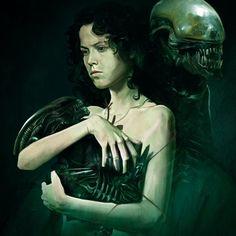 Pop Culture Art - Ripley and Aliens by Vlad Rodriguez Alien Vs Predator, Arte Alien, Alien Art, Arte Horror, Horror Art, Horror Movies, Alien Film, Alien 1979, Alien Ripley