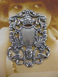 Silver Ox Plated Brass Baroque Angel Crown by dimestoreemporium, $4.00