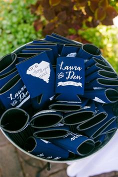 Koozie Favors // Navy, White + Pink Thomas Bennett House Charleston Wedding // Dana Cubbage Weddings // Charleston SC + Destination Wedding Photographer