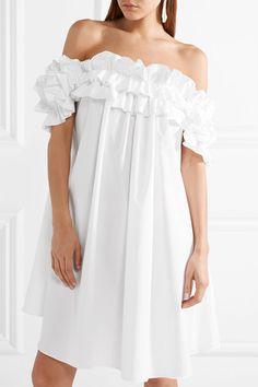 Alexander McQueen | Ruffled off-the-shoulder cotton-poplin dress | NET-A-PORTER.COM
