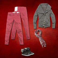 Red and Grey..casual Christams #40weft #fw2014 #womanfashion #skinnypants #fleece #fashionblogger #repin www.40weft.com