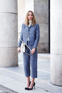 go for grey. #CandelaNovembre looking tres chic in Paris.