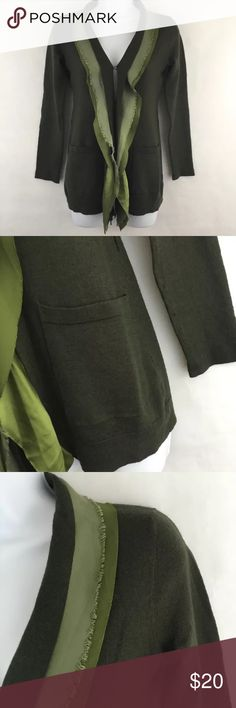 Kenneth Cole Cardigan Sweater Green Chiffon Wool S Kenneth Cole cardigan  • Size small • Green, a few different shades • Long sleeves • Hook and eye closures on the front • Has belt loops for a sash, but the sash is missing • A few imperfections, see photos. Small spot on the underneath side of the collar and does not show when wearing • Dry clean only  Material: • Body: 50% wool, 50% Acrylic • Trim: 100% Poly Charmeuse, 100% Poly Chiffon  Approximate measurements taken on a flat surface:  •…