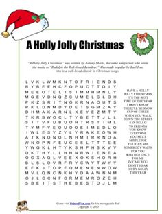 A Holly Jolly Christmas Word Search