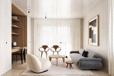 This Sophisticated Interior Celebrates Chic Minimalism And Iconic Designs - Nordic Design Minimalist Bed, Minimalist Home Interior, Modern Interior, Modern Decor, Design Furniture, Plywood Furniture, Furniture Ideas, Chair Design, Unique Sofas