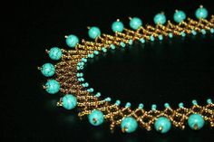 Turquoise and gold necklace Beadwork December Birthstone Seed Bead Jewelry, Bead Jewellery, Beaded Jewelry, Handmade Jewelry, Unique Jewelry, Turquoise Beads, Gold Beads, Turquoise Bracelet, Gemstone Necklace