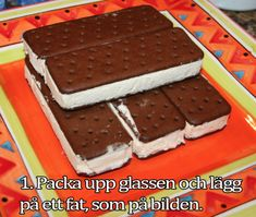 Ice Cream Sandwich Cake RecipeI bet you didn't realize you could make a cake that you didn't even have to bake! Try the Ice Cream Sandwich Cake recipe. Ice Cream Desserts, Frozen Desserts, Ice Cream Recipes, Easy Desserts, Delicious Desserts, No Bake Ice Cream Cake Recipe, No Bake Cake, Sandwiches, Gelato