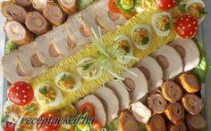 Hidegtál recept fotóval Cold Dishes, Sandwich Cake, Food Platters, Hors D'oeuvres, Savoury Cake, Food Design, Finger Foods, Food Art, Catering