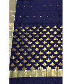 Blue Pure Handloom Chanderi Cotton Silk Saree