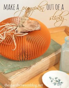 Slinky pumpkin  I love this.   I've made one out of a dryer vent hose, but this looks easier!!